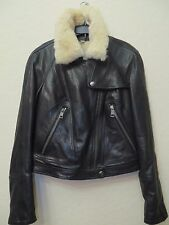 NEW BURBERRY BRIT Women Black Lamb Leather Jacket Size 08 US MSRP $ 1695.00