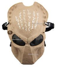 Metal Mesh Protect Tan Alien Vs Predator AVP Full Face Airsoft Paintball Mask
