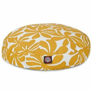 Yellow Plantation Large Round Indoor Outdoor Pet Dog Bed With Removable Washa...