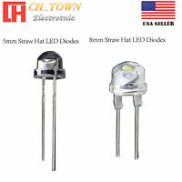 5 8 mm Straw Hat Warm White Red Blue Green Orange Light LED Diodes Lamp Bulb