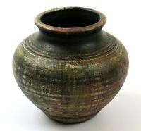 Vintage Rustic Look Pottery, Brushed Matte Finish Medium Vase Urn, Unsigned