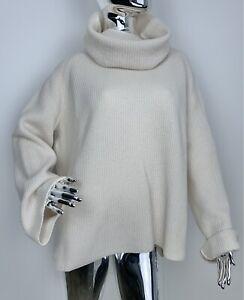 Max Mara Weekend Knit  High Neck Oversized Turtleneck Ivory Sweater L