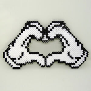 Disney MICKEY MOUSE Gloves love heart sign handmade Hama beaded coaster wall art