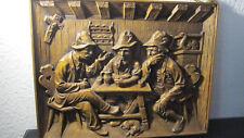 """Altes Großes Holzrelief """"Drei pfeiferauchende und trinkende Männer am Tisch """""""