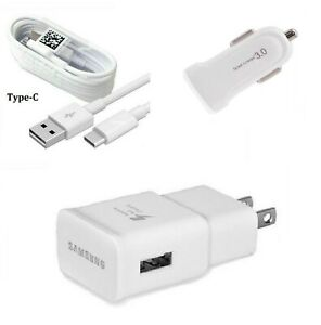 OEM SAMSUNG FAST WALL+CAR ADAPTER+TYPE C USB CABLE FOR GALAXY S8,S9,S10+ (WHITE)