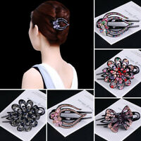 Fashion Women Girl Crystal Hairpin Flower Hair Claw Hair Jewelry Accessories