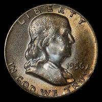 1956 50c FRANKLIN HALF DOLLAR, ORIGINAL MINT SET TONING *NGC MS 65 FBL* LOT#T974
