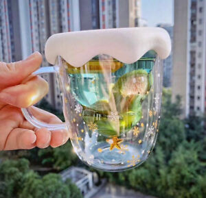 Christmas Tree Stars Wishing Cup Double Walled Glass Latte Coffee Tea Mug Gifts