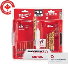 Milwaukee Drill Bit Set Titanium Shockwave Impact Duty 15 Pc Helix Twist Kit New
