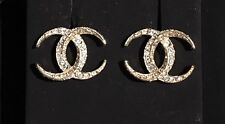 NIB CHANEL Large CC Logo RARE Strass Pave Swarovski Crystals Moon Studs Earrings