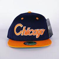 NEW CHICAGO NAVY AND ORANGE BLING HIP HOP FLAT PEAK BASEBALL CAP, SNAPBACK HAT