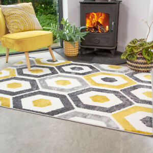 Mustard Geometric Pattern Area Rug Home Decor Large Small Bedroom Rugs Mat CHEAP