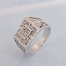 Zirconia Men Unusual Ring Size 10 Us Seller Fashion Silver Plated Clear Cubic