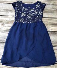 Girls 4/5 Dress - Beautiful George Dress Silver Sequins on top/ Navy Blue Dress