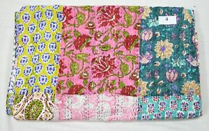 New Indian Multi Patchwork Cotton Bed Cover Bedspread Throw Kantha Quilt Blanket