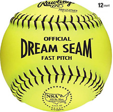 "1 dz Rawlings C11Nyl 11"" Dream Seam Nsa Softball Fastpitch Yellow Leather Cover"