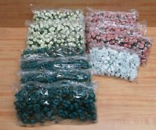 Lot 12 Bags Assorted Artificial Roses Flowers on Wire Stems Picks Floral Crafts