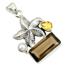 10.85cts Brown Smoky Topaz Citrine Pearl 925 Silver Star Fish Pendant R20516