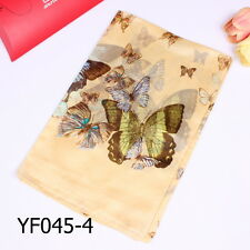 100% Pure Silk Womens Large Long Scarf Wrap Shawl Butterfly Beige