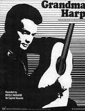 Merle Haggard sheet music Grandma Harp 1972 2 pages (NM shape)
