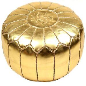 Authentic Golden MOROCCAN POUF Leather Pouf Ottoman Pouffe footst