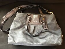Authentic Coach Charcoal Gray Ashley Carryall Purse Bag Tote F18776