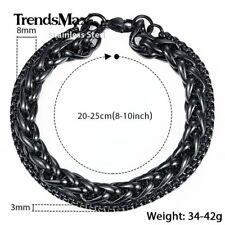 Black/Silver Tone Double Chain Bracelet Stainless Steel Wheat & Box Link Bangle