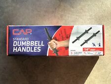 """CAP 1"""" Standard Threaded Dumbbell Handles 14"""" w Collars SET OF 2 *SHIPS TODAY*"""