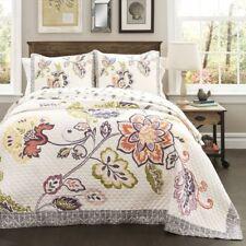 3pc Queen Quilt Set ASTER reversible Floral Garden Cotton Creme Pastel Blooming