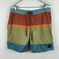 RVCA Mens Board Shorts Size 36 Swim Shorts Multicoloured Striped Classic Fit