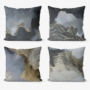 Abstract Modern 4 Pieces Two Sides Printed Throw Pillow Case Cover