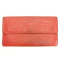 Louis Vuitton Wallet Purse Long Wallet Epi Red Woman Authentic Used Y4910
