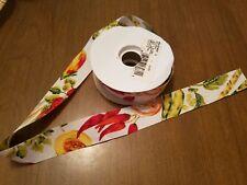 "25 Yards LION BRAND Fabric Ribbon SALAD BAR veggies peppers 1-3/8"" Wide craft"