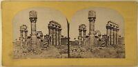 Egitto Tempio Ruines Foto Francis Frith Stereo Vintage Albumina c1860