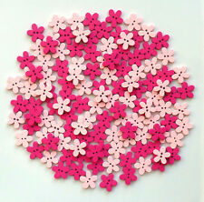 100 X 15mm Wooden Flower Buttons 2 X Pink Colours Scrapbooking Embelishments