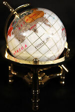 Multi-Gemstone 90mm Desktop Globe In White Pearl on Gold Tone Base Free S&H