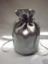 SILVER  SATIN + DIAMANTE DOLLY BAG.WEDDING / BRIDAL