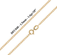 9ct Solid Yellow Gold Flat Beveled Curb Chain Necklace - 1.5mm - Various Lengths