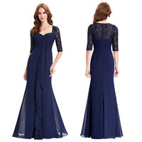 Women Lace Chiffon Formal Evening Ball Gown Long Maxi Wedding Party Prom Dress