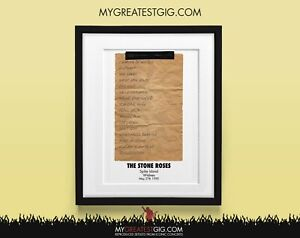 Stone Roses - Spike Island - May 27th 1990 - Recreated Set List Poster Print Art