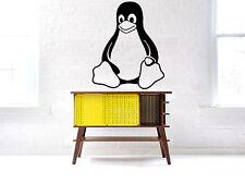 Vinyl Wall Decal Sticker Showcase Shop PC Linux Unix Tux Penguin Server F2399