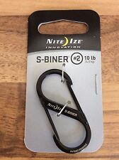 Nite Ize S-Biner Black Stainless Steel Size #2 Carabiner LIGHTWEIGHT ONLY 10g