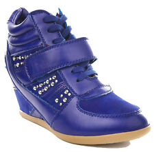 NEW Blue silver studs Hidden wedge lace up strap sneakers Ankle booties size 6