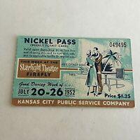 1952 Kansas City Public Service Company Streetcar Weekly Nickel Pass Ticket 951A