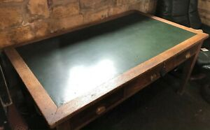 Large Vintage Industrial Desk with Leather Top