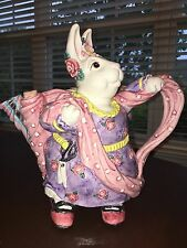 Fitz & Floyd Hand Painted Rare Fine China Whimsical Spring Rabbit Tea Pot