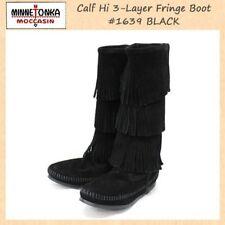 MINNETONKA Women's Boot SZ 5 Black Suede 3 Layer Fringe Mid Calf Moccasin 1639