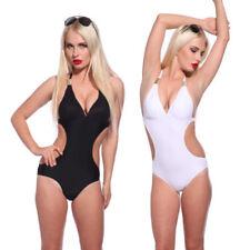 Abbigliamento neri per il mare e la piscina da donna scollo a v poliestere