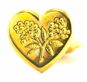 Freund Mayer Genuine Brass Wax Seal Stamp Made in Italy Heart Flower Design