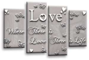 """BLACK WHITE LOVE QUOTE GREY CANVAS WALL ART FAMILY PICTURE 4 PANEL SPLIT 44""""X27"""""""